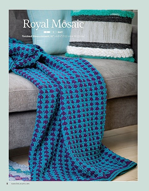Royal Mosaic Afghans For The Family Leisure Arts Book Review Oombawka Design