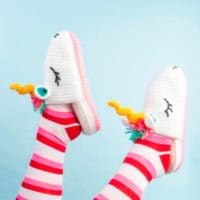 Unicorn Slippers Pattern - Free Pattern Friday - Oombawka Design