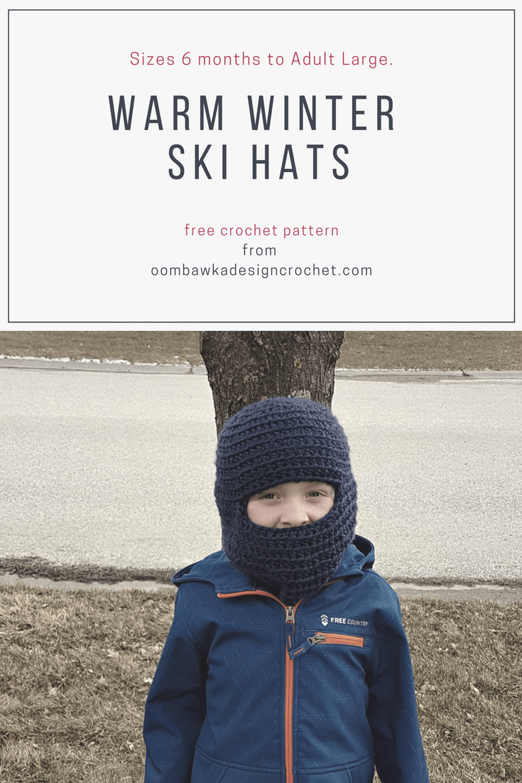 Make These Warm Winter Ski Hats for Children and Adults Free Pattern in sizes 6 months to Adult Large. Designed by Oombawka Design Crochet. Yarn: Bulky Weight Yarn [5] I used Red Heart Soft Essentials Yarn Hook: 6.5 mm (K) #redheartyarns #joycreators #freepattern #crochet