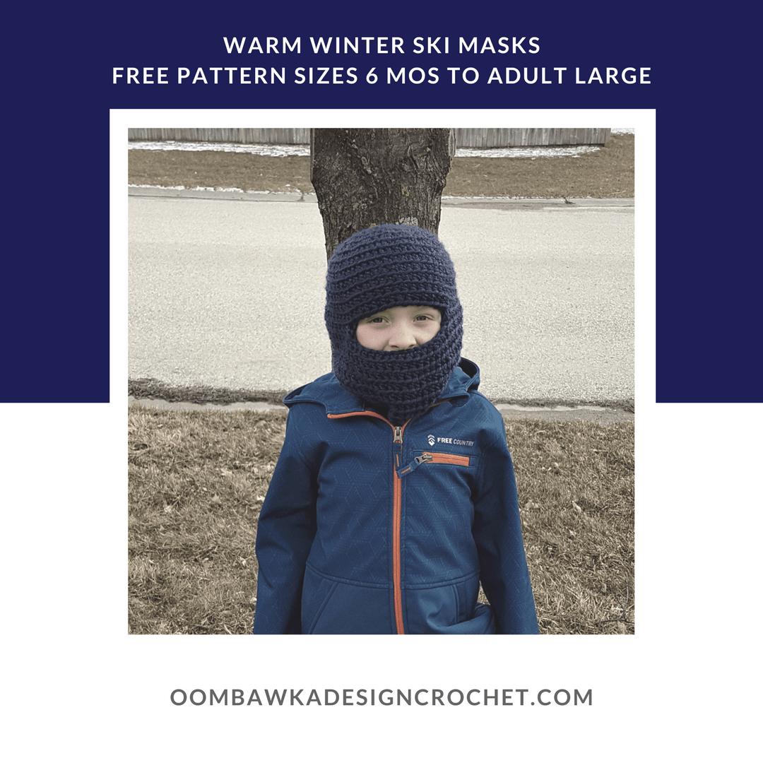 Warm Winter Ski Hats Pattern Oombawka Design sq2