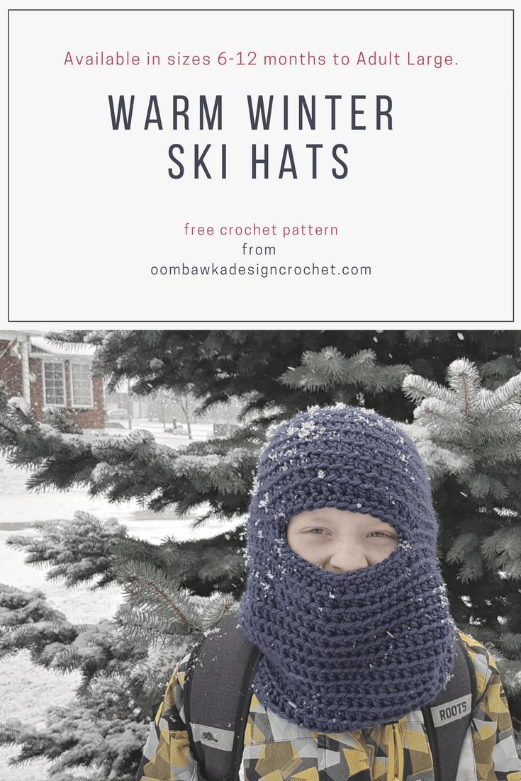 Warm Winter Ski Hats Pattern Oombawka Design