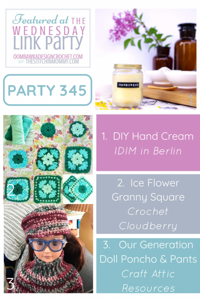Wednesday Link Party 345 Features DIY Natural Hand Cream and 2 Crochet Projects