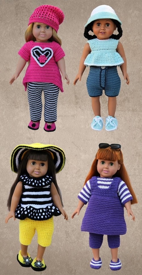 "Crochet Play Clothes for 18"" Dolls. eBook from Shady Lane Original Crochet Designs."