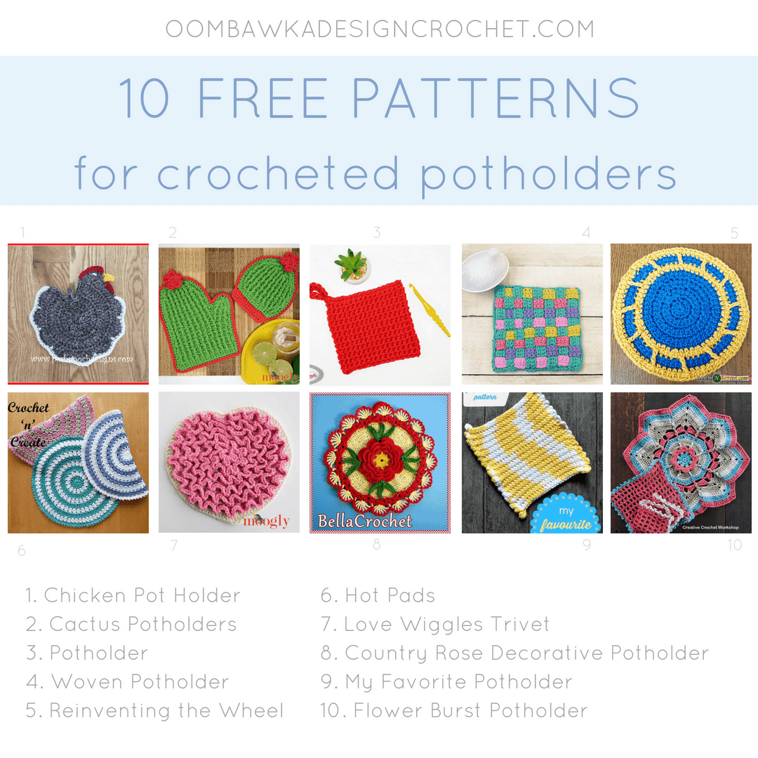 10 Crochet Potholder Patterns • Oombawka Design Crochet