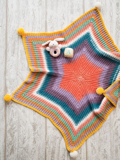 Rainbow Star Baby Blanket | Afghans To Treasure Annie's Craft Store Book Review