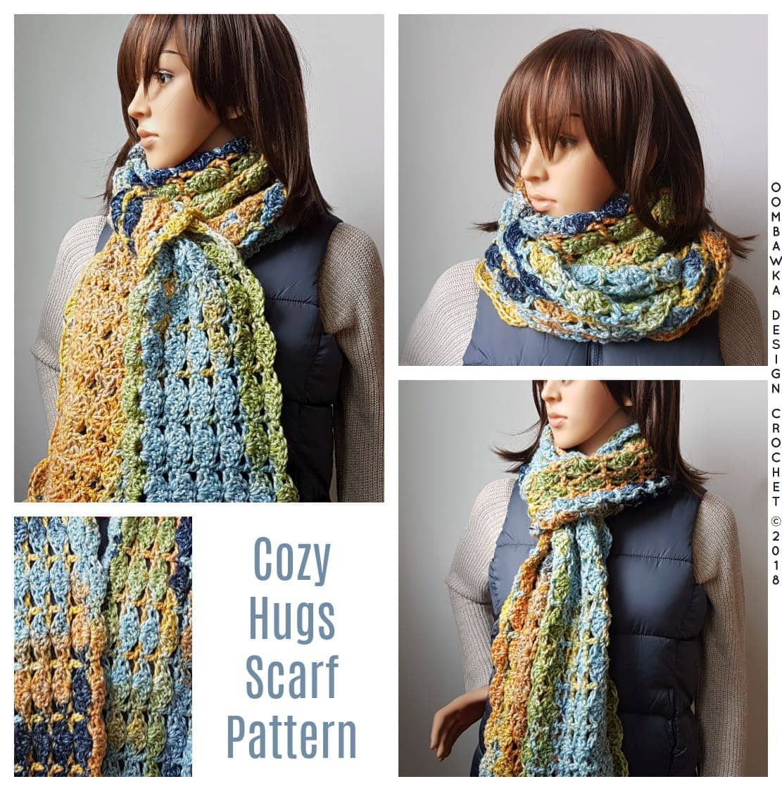 Cozy Hugs Scarf Pattern. Oombawka Design Crochet Pattern. #scarfofthemonthclub2018