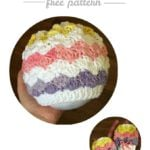 Rainbow Shells Newborn Hat and Mitt Set Free Pattern Oombawka Design Crochet