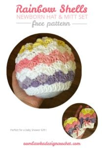 Rainbow Shells Newborn Hat and Mitt Set