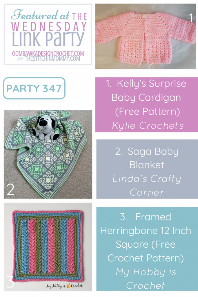The Wednesday Link Party 347 Features a Baby Cardigan, a baby blanket and a 12 inch afghan square