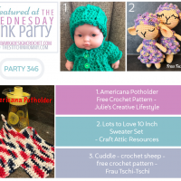 Wednesday Link Party 346 Featured Favorites Americana Potholder, Lots to Love Sweater and Cuddle Crochet Sheep FB