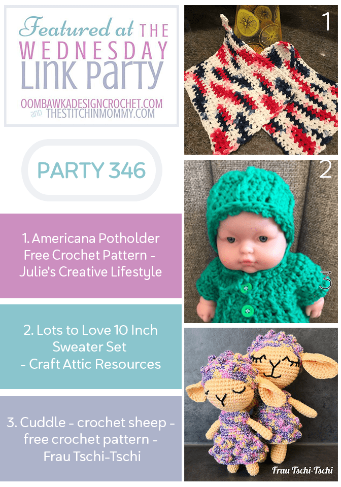 Wednesday Link Party 346 Featured Favorites Americana Potholder, Lots to Love Sweater and Cuddle Crochet Sheep
