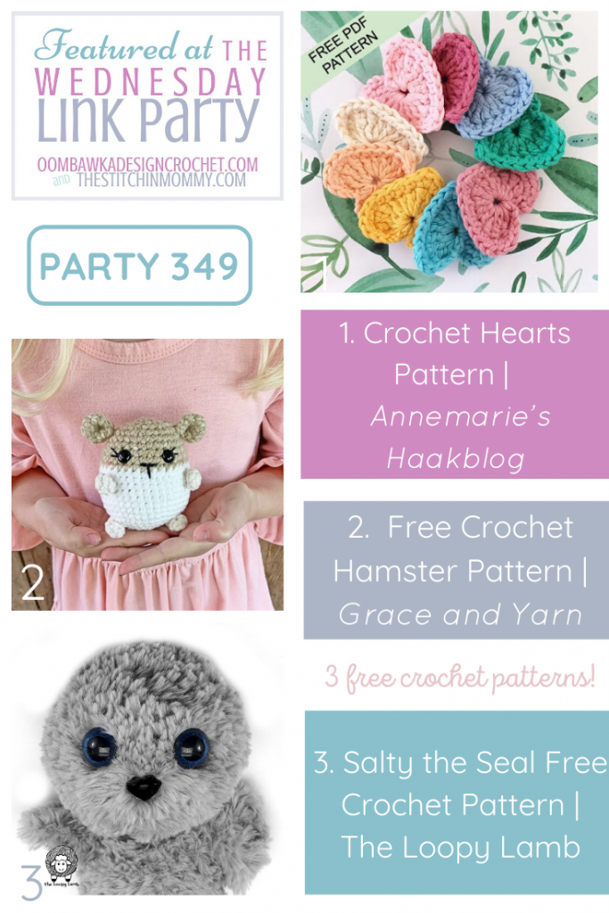 Wednesday Link Party 349 Featured Favorites 3 Free Patterns Crochet Heart Hamster Seal Amigurumi