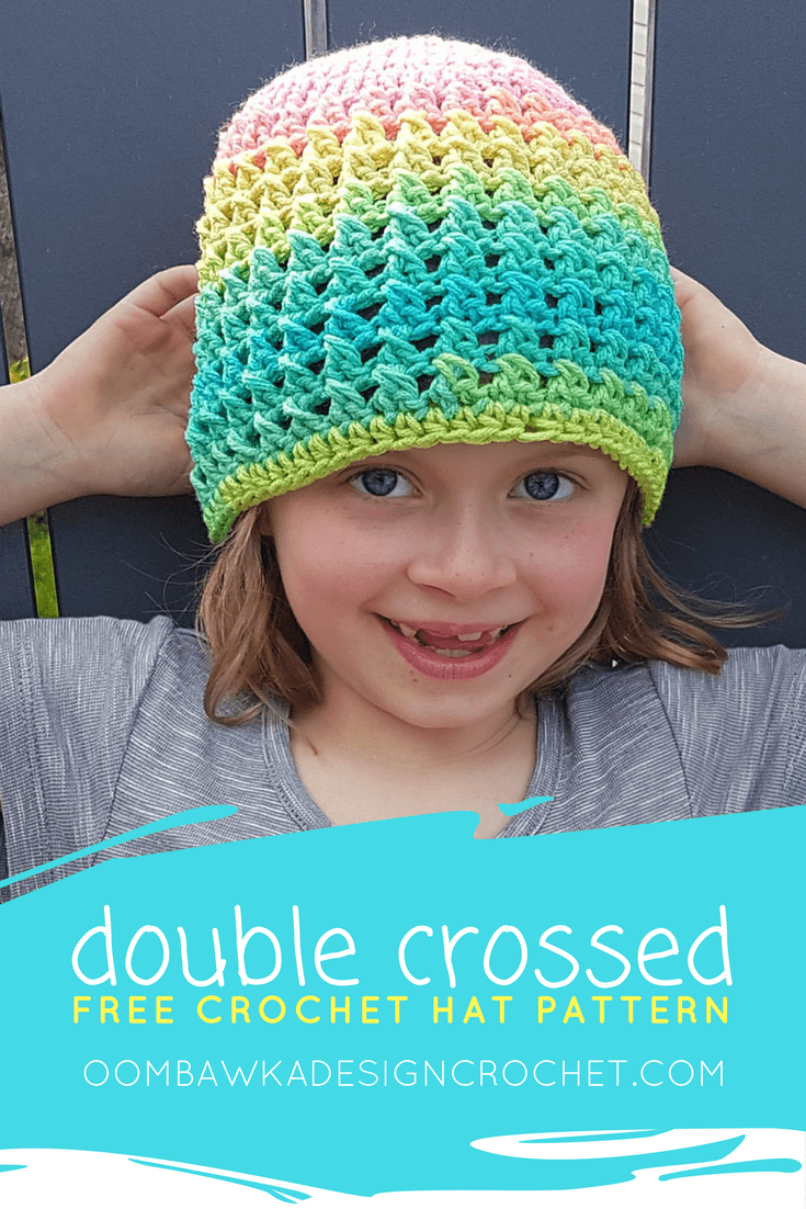 Double Crossed Hat - A Free Crochet Pattern in 11 Sizes (from Preemie to Adult Large) Yarn: Red Heart Super Saver Stripes Hook: 5.5 mm (I) #redheartyarns #joycreators