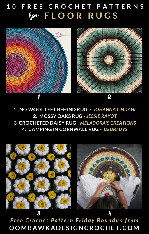 10 Free Crochet Rug Patterns - Free Pattern Friday at Oombawka Design Crochet