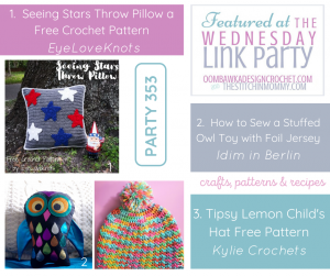 Featured Favorites Wednesday Link Party 353 Star Throw Pillow, Owl Toy and Child Size hat