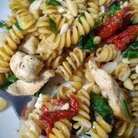 Greek Style Chickpea Pasta Salad Recipe | Coastal Bohemian