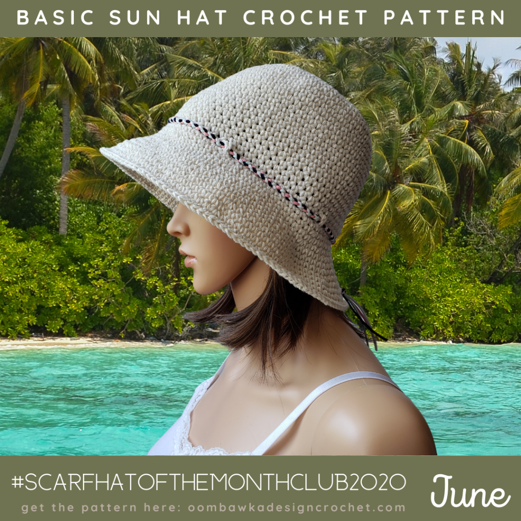 June Hat of the Month Basic Sun Hat Crochet Pattern Oombawka Design Crochet