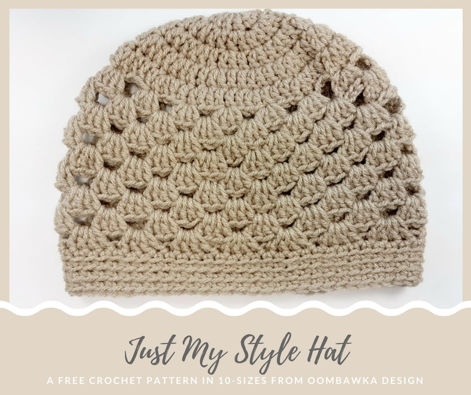 Just My Style Hat Pattern. A Free Crochet Pattern in 10 Sizes from Oombawka Design