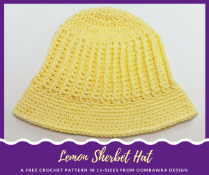 Lemon Sherbet Sunhat Pattern in 11 Sizes