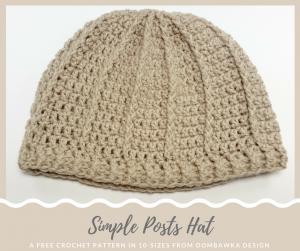 Simple Posts Hat Pattern in 10 Sizes