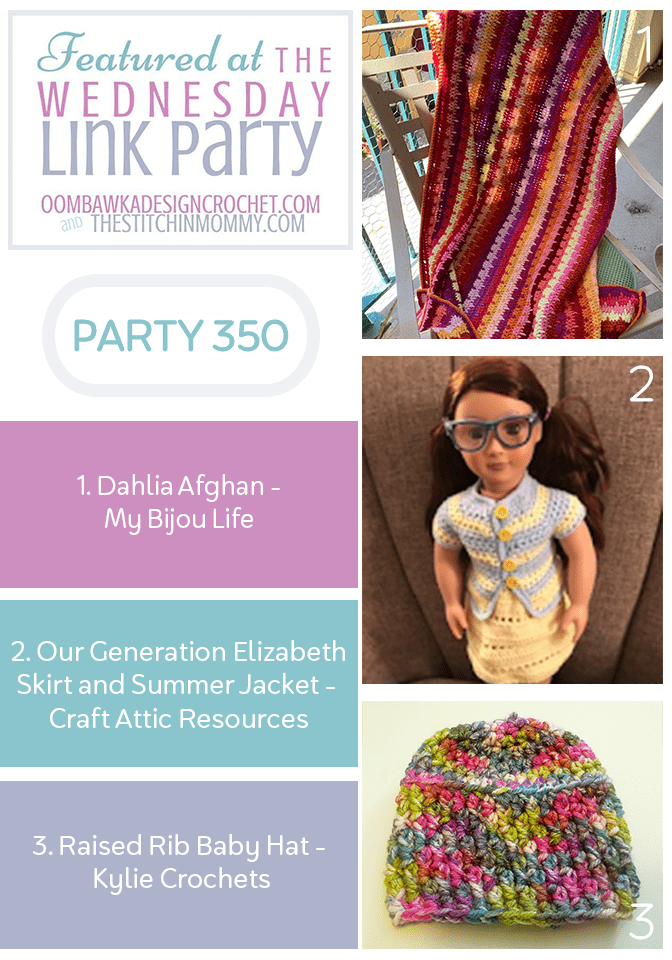 Wednesday Link Party 350 Features Dahlia Afghan Doll Skirt and Jacket Set and Raised Rib Baby Hat PIN