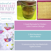 Wednesday Link Party 352 Features Greek Marinade - Bird Pendants - Lemons on the Line Washcloth