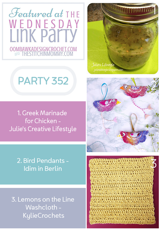Wednesday Link Party 352 Features Greek Marinade - Bird Pendants - Lemons on the Line Washcloth PIN