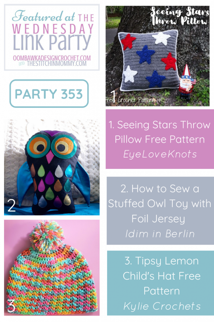 Wednesday Link Party 353 Featured Favorites Owl Toy, Star Throw Pillow, Child Size hat