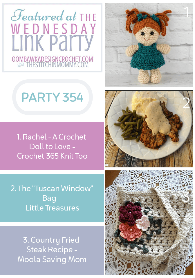 Wednesday Link Party 354 Features Crochet Doll and Crochet Bag and Steak Recipe