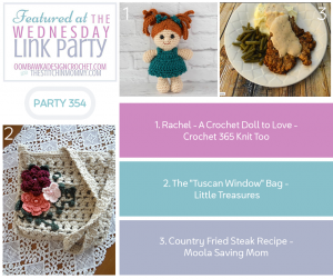Wednesday Link Party 354 Features a Crochet Doll Crochet Window Bag and Steak Recipe