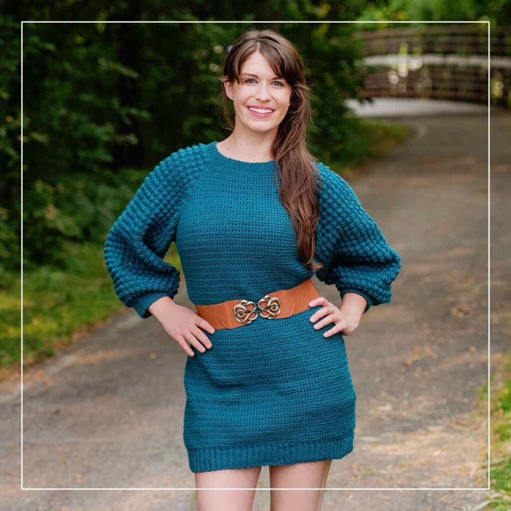 Amarillo Bobble Sleeve Dress by Michelle Moore