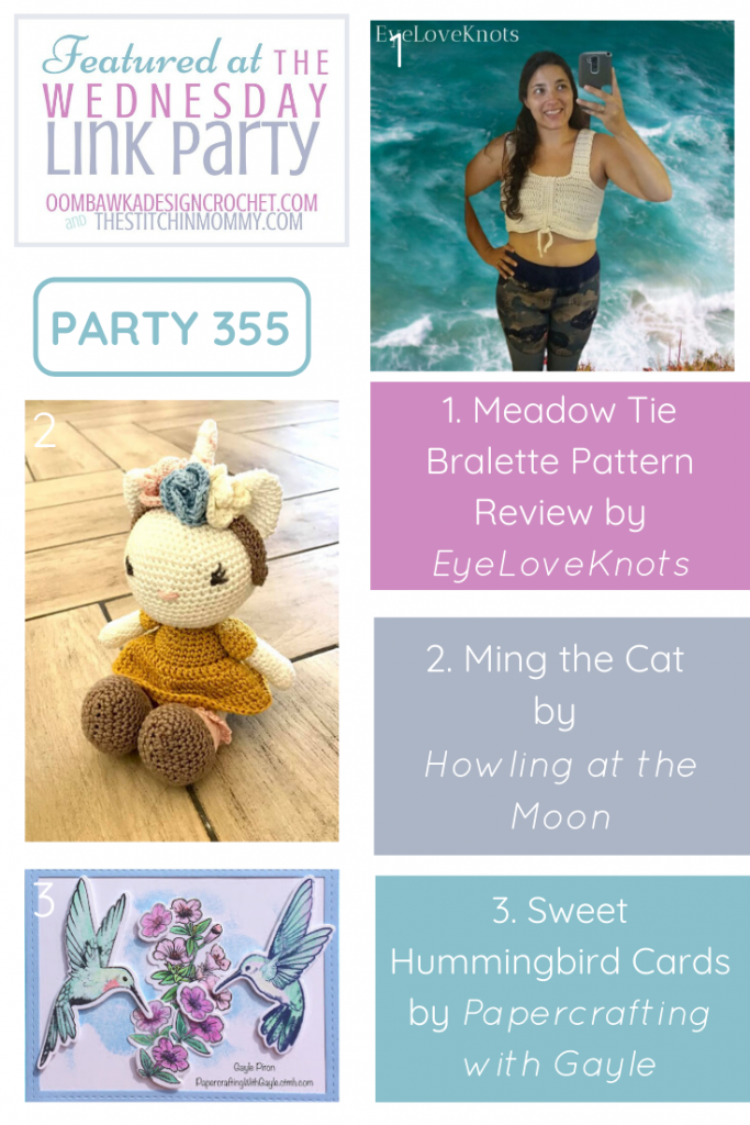 1 Wednesday Link Party 355 Features Meadow Tie Bralette - Ming the Cat - Sweet Hummingbird Cards
