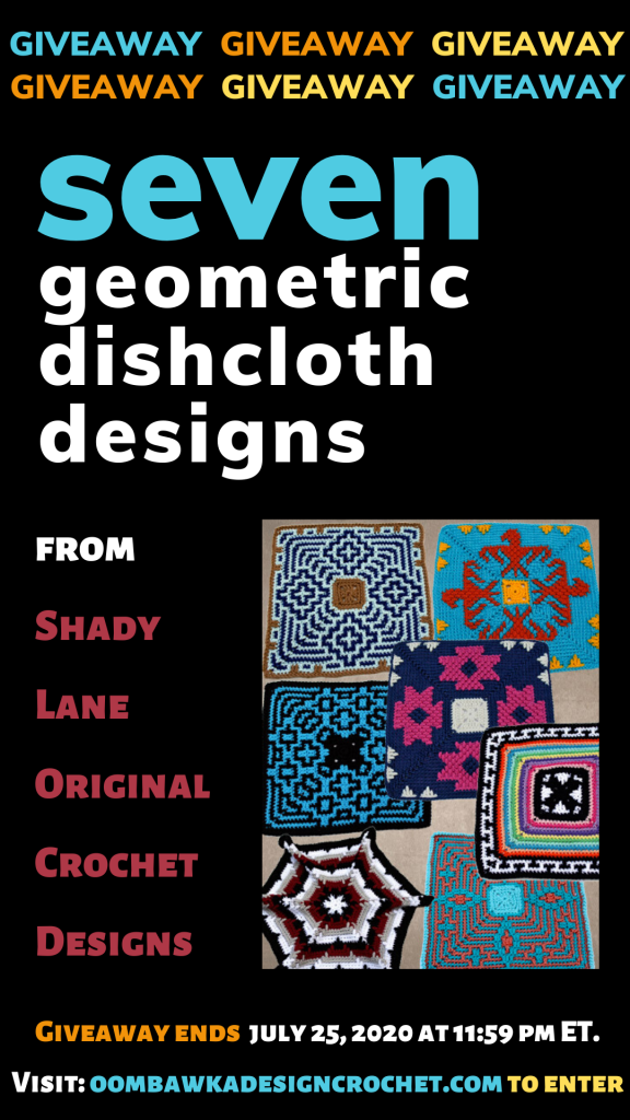 7 Geometric Dishcloth Designs ePattern from ShadyLane Giveaway Ends July 25 2020 1159 pm ET
