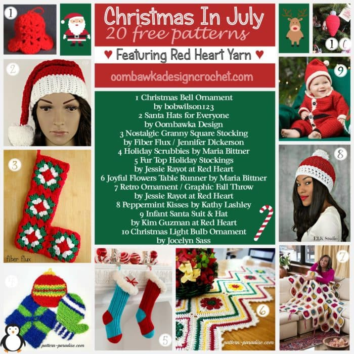 Get your FREE Christmas In July Crochet Patterns Right here! Each of these is designed using Red Heart Yarn.