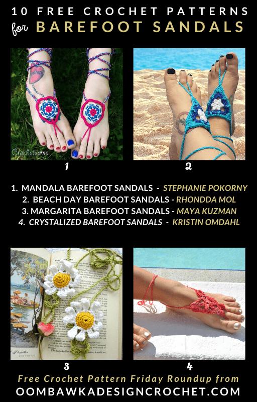 Free Barefoot Sandals Crochet Pattern Roundup Oombawka Design