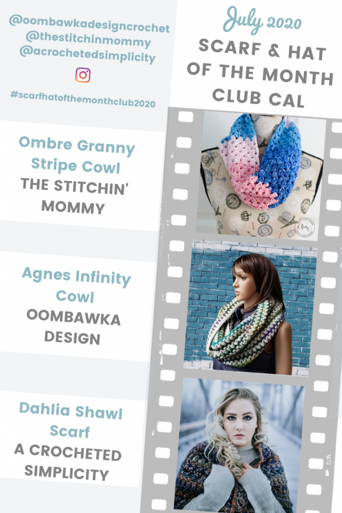 July 2020 Scarf of the Month Club CAL Patterns