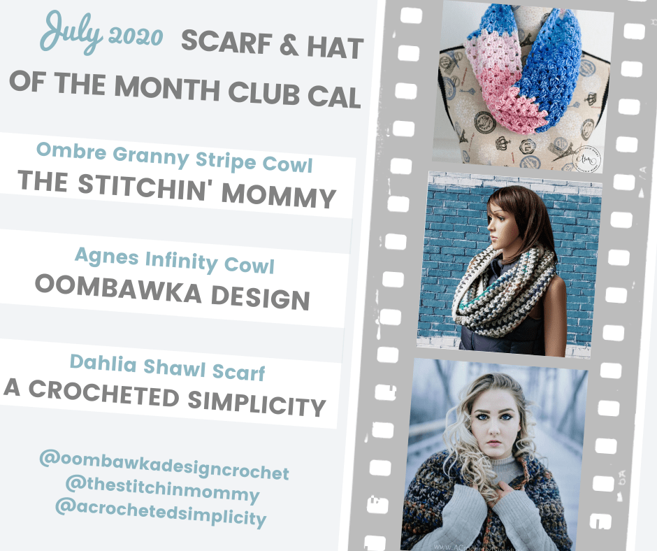 July Scarf of the Month Club CAL 2020 Patterns