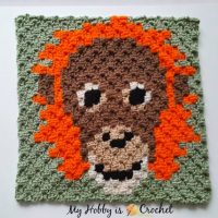 Orang-Utan C2C Square - My Hobby is Crochet Featured at The Wednesday Link Party