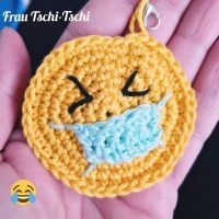 Smiley Emoji Keychain with Mask Featured at Wednesday Link Party