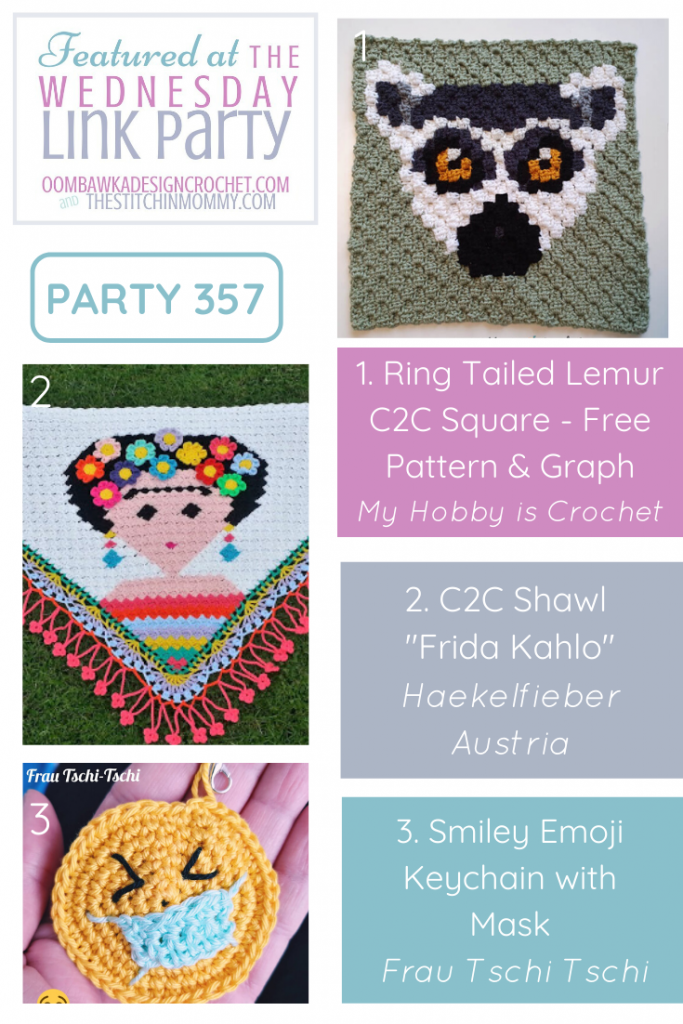 Wednesday Link Party 357 Features Ring Tailed Lemur C2C Square - C2C Shawl and Emoji Keychain