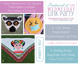Wednesday Link Party 357 Features Ring Tailed Lemur C2C Square - C2C Shawl and Emoji Keychain PIN