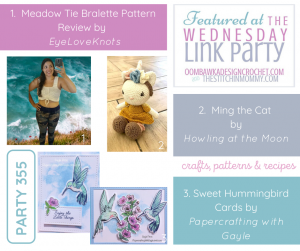 Wednesday Link party 355 Featured Favorites Meadow Tie Bralette - Ming the Cat - Sweet Hummingbird Cards