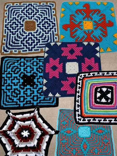 7 Geometric Dishcloth Designs an ePattern from ShadyLaneOriginalCrochet Designs
