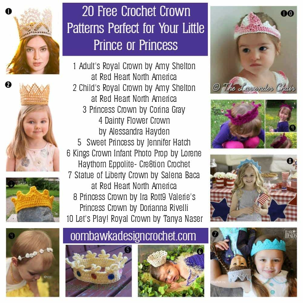 20 Free Crochet Crown Pattern For Your Prince Or Princess Oombawka
