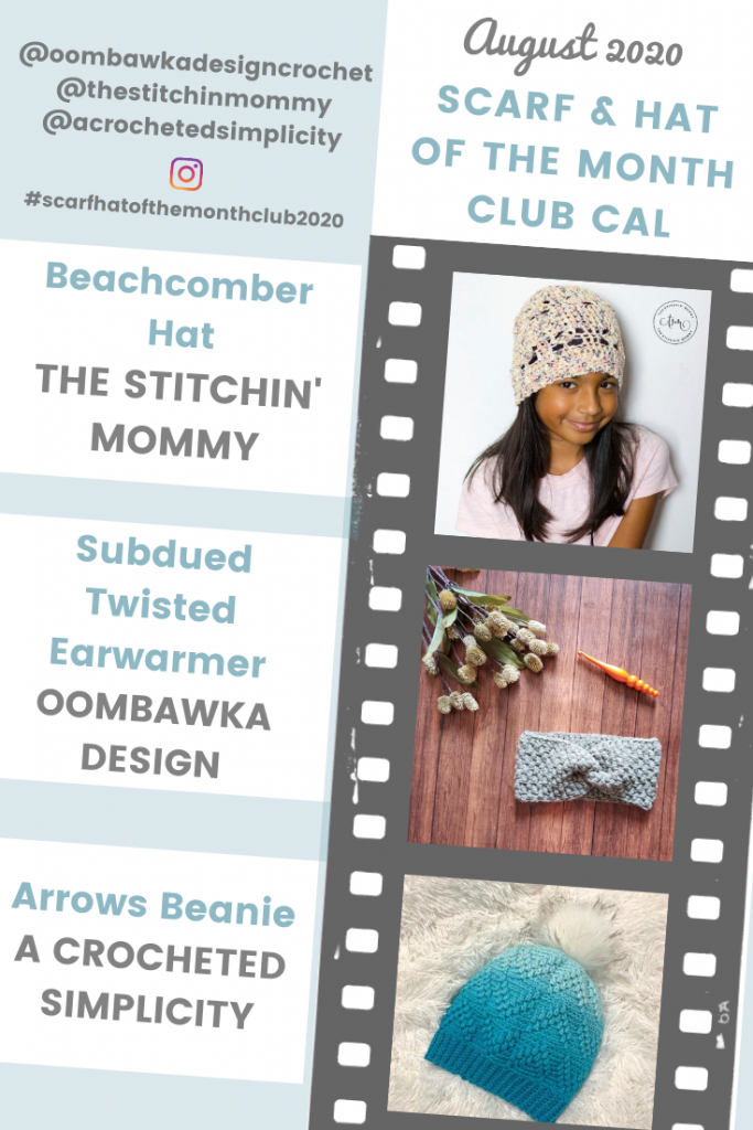 August Hat of the Month Club CAL Collage PIN