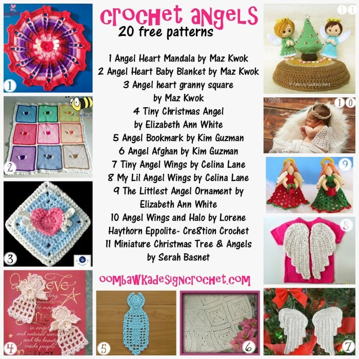 Crochet Angels - 20 different interpretations of crochet angels! Patterns for tree toppers, amigurumi, angel wings, afghan squares, mandalas, bookmarks and pins!