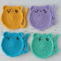 Crochet Cat Coasters Featured Wednesday Link Party 361