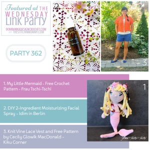 Featured Favorites Wednesday Link Party 362 My Little Mermaid - DIY Facial Spray - Knit Vine Lace Vest