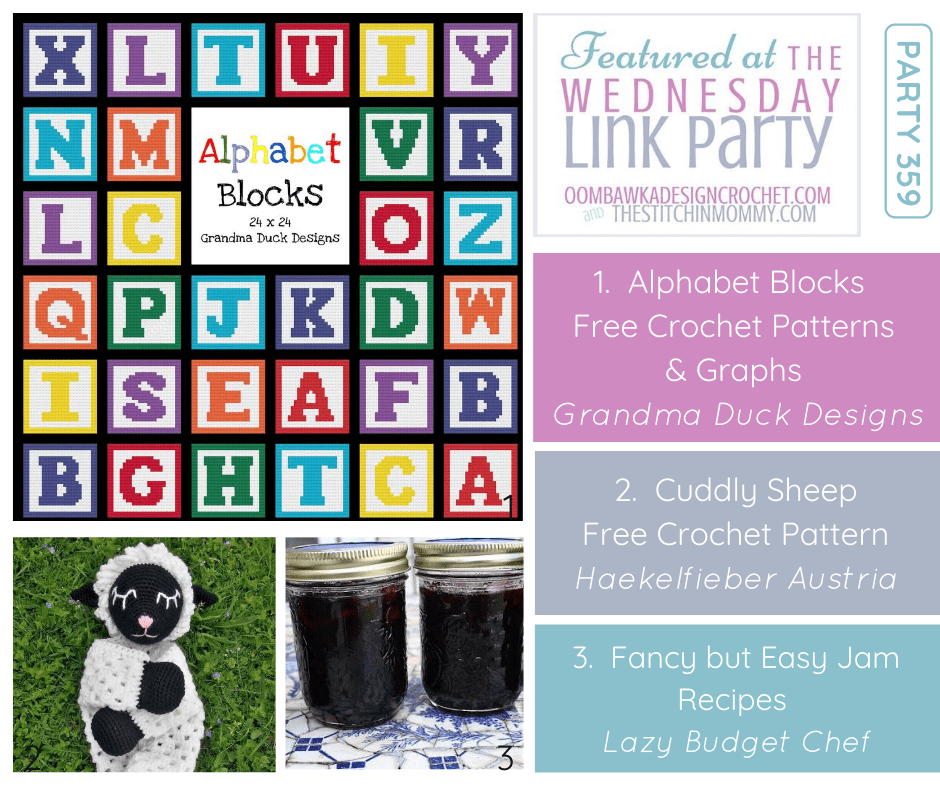Featured at Wednesday Link Party 359 Nostalgic Alphabet Blocks Cuddling Sheep and Jam Recipes