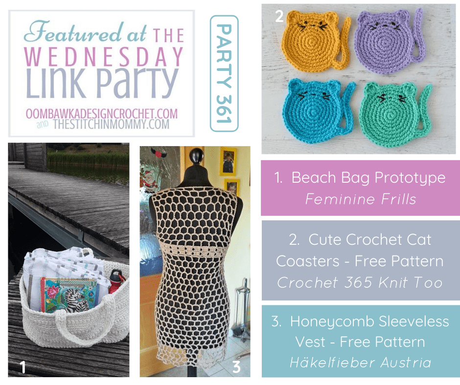 Features Wednesday Link Party 362 Beach Bag - Cat Coasters - Honeycomb Vest